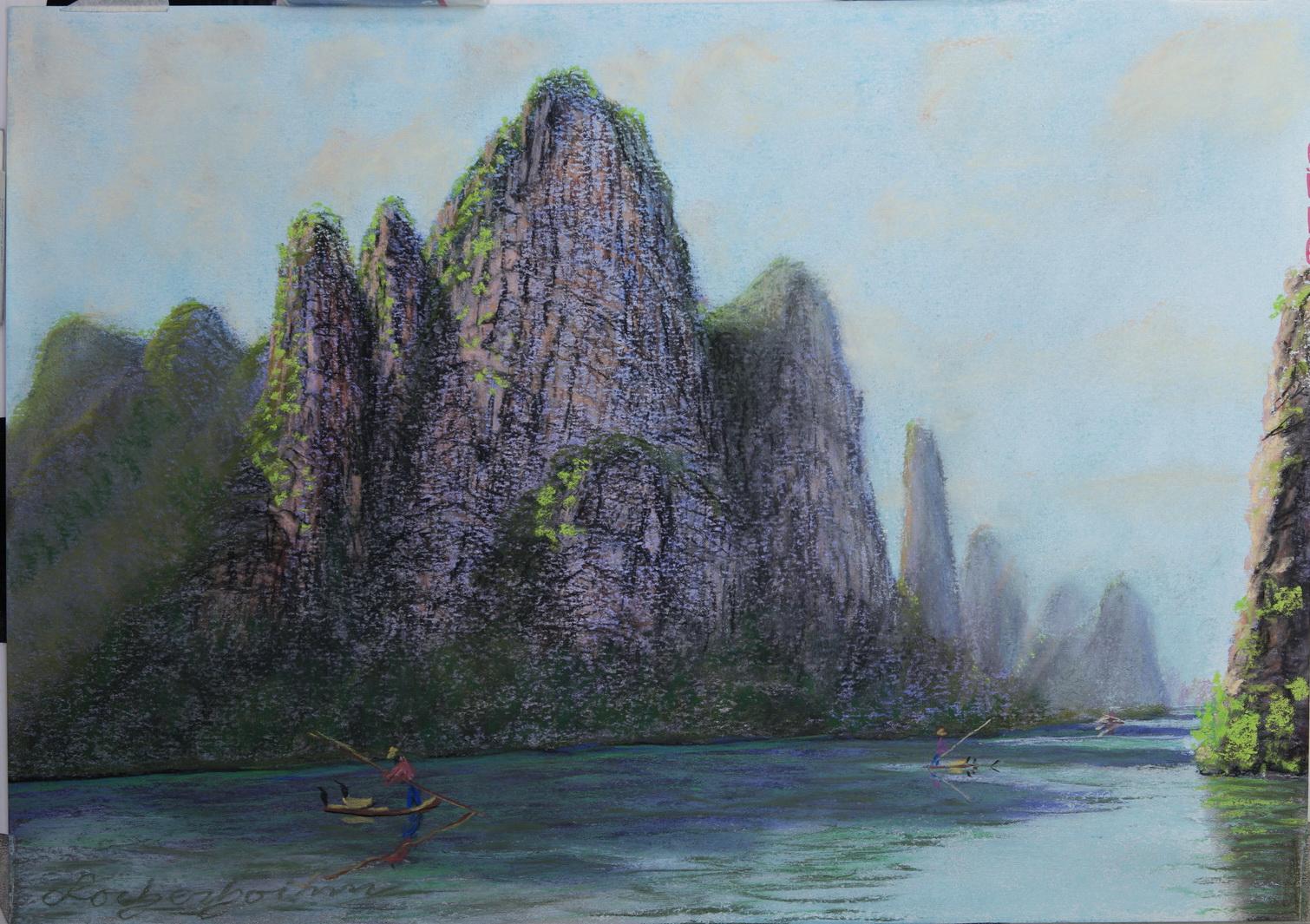 Fishing with Cormorant on Li River,Yangshuo, Guilin, Guangxi, China. Lorberboim Soft Pastel Painting.