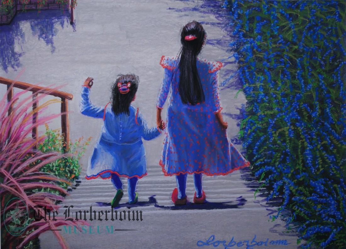 Sisters on morning walk,, Museum, Lorberboim, Tlmuseum.com, artnot4sale, Lorberboim.com, Lorberboim Soft Pastel Painting,