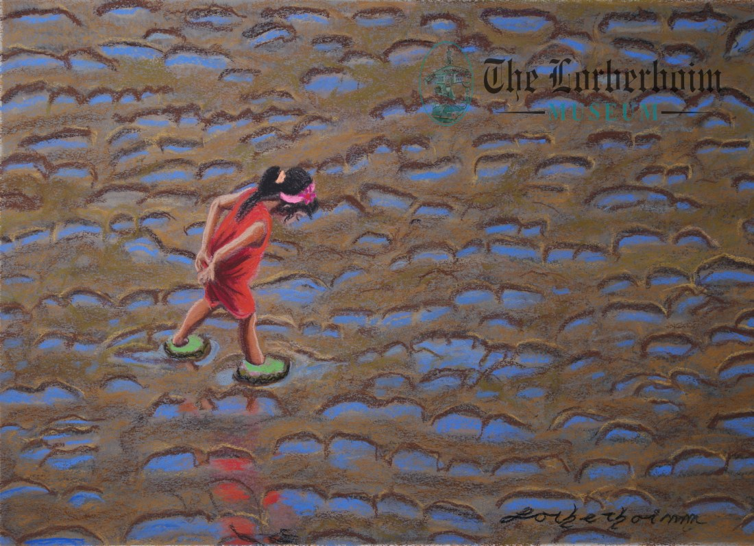 Girls playing in mud, Museum, Lorberboim, Tlmuseum.com, artnot4sale, Lorberboim.com, Lorberboim Soft Pastel Painting,