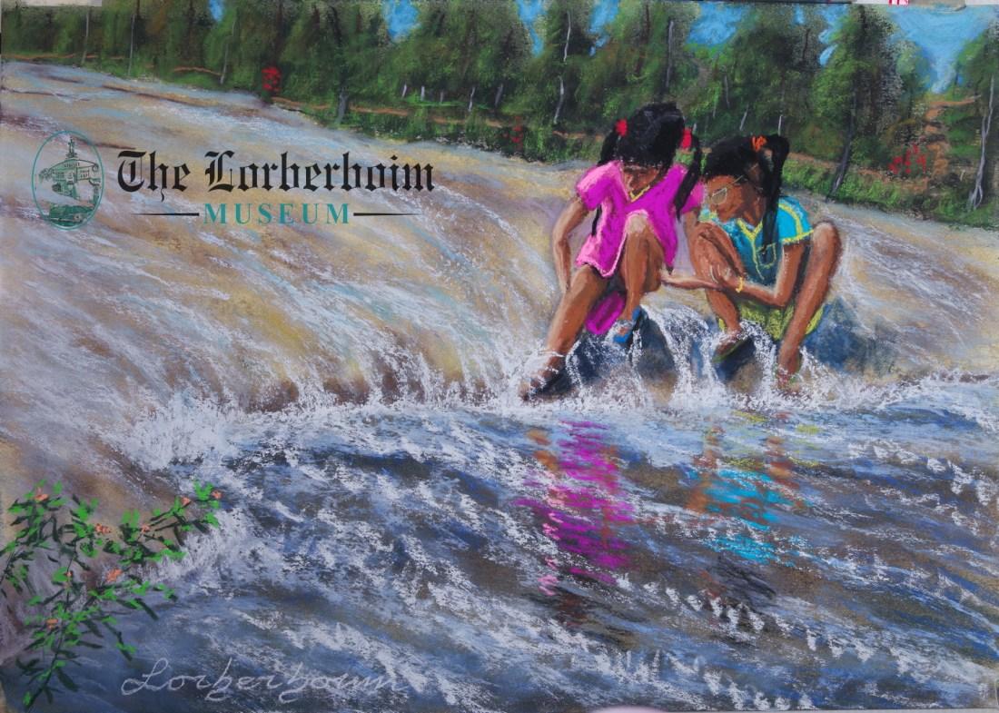 Girls playing at river, Museum, Lorberboim, Tlmuseum.com, artnot4sale, Lorberboim.com, Lorberboim Soft Pastel Painting,