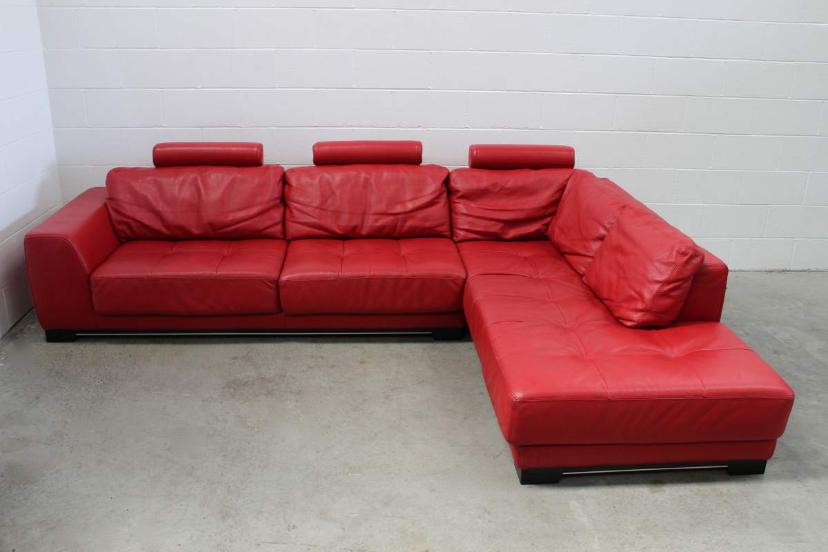 leather red sofa decorative pillows for macy s pristine huge roche bobois guarana l shape sectional in