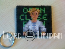 Monkey Island Cross Stitch Keychain