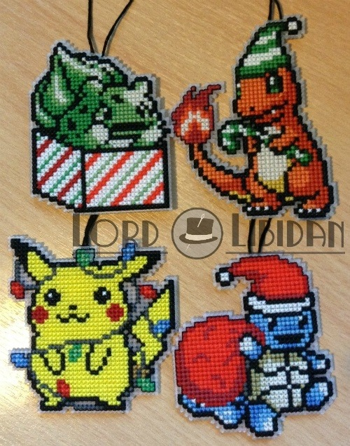 Christmas Pokemon Bauble Cross Stitches by Lord Libidan