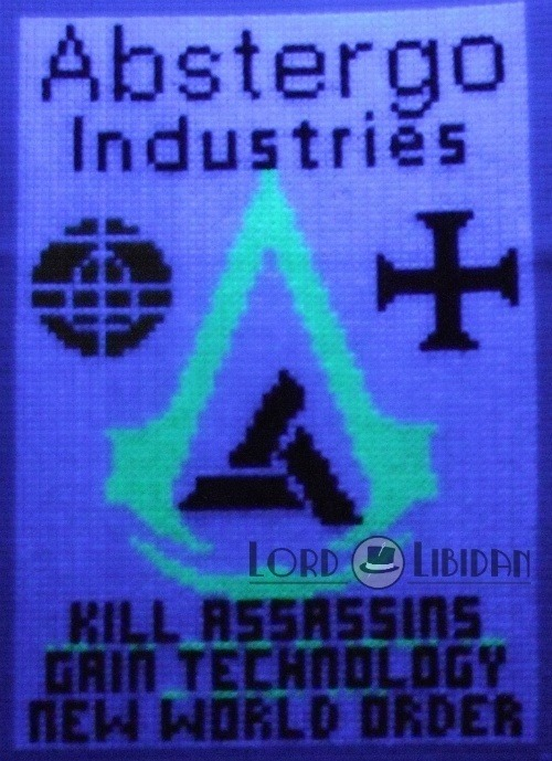 Assassins Creed Abstergo Cross Stitch Poster by Lord Libidan - Glow In The Dark