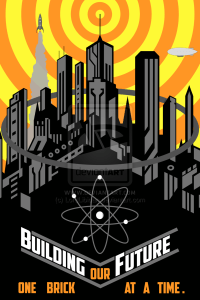 Building Our Future Retro Futuristic Poster