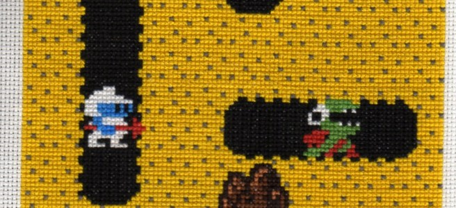 Dig-Dug Cross Stitch Charity Square by Lord Libidan