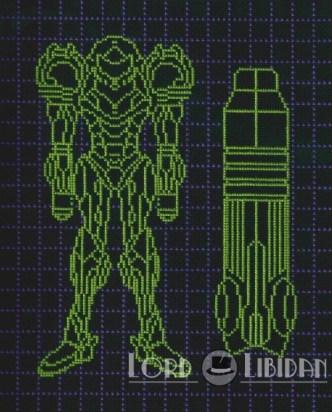 Metroid Power Suit & Cannon Blueprints Cross Stitch