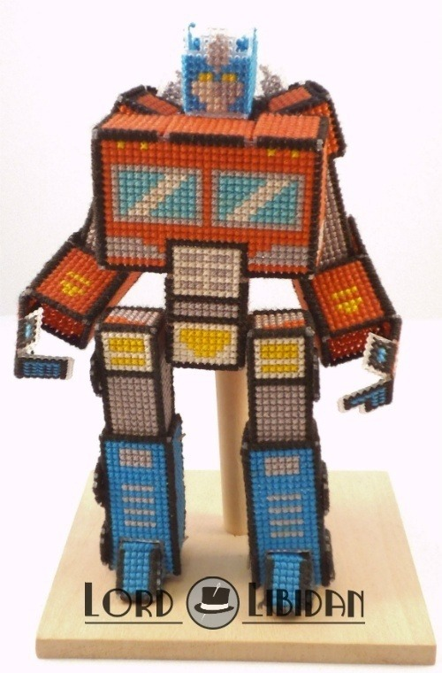 Optimus Prime Transforming 3D Cross Stitch by Lord Libidan in robot form