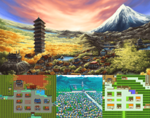 Various shots of Pokemon's Ecruteak City from the games and anime (source: google images)