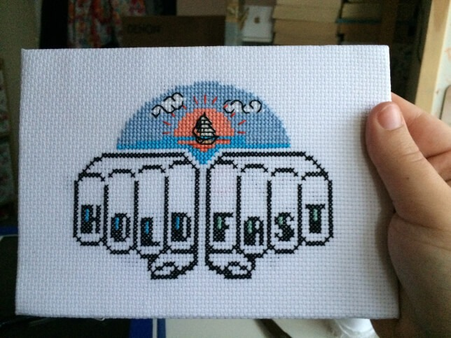 how to frame cross stitch remove pins