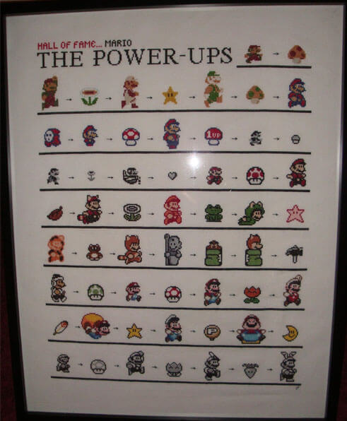 Mario Power Ups Cross Stitch by Psi169 (source: spritestitch.com)