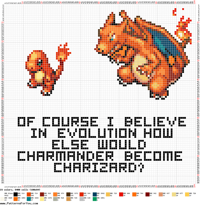 Pokemon charmander Evolution free Cross Stitch Pattern