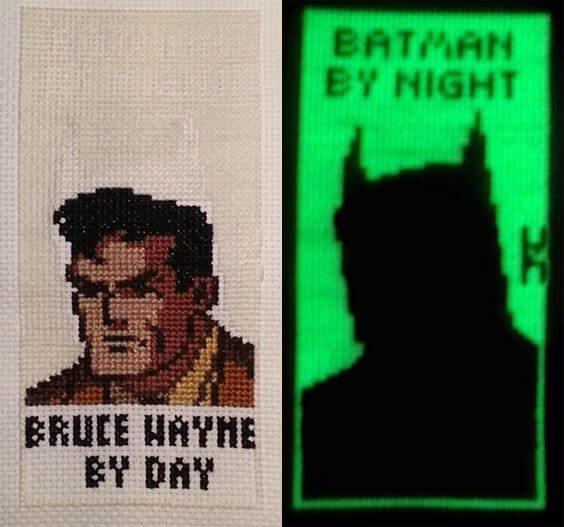Batman Glow-in-the-dark Cross Stitch by Alicia Dennett (source: spritestitch.com)