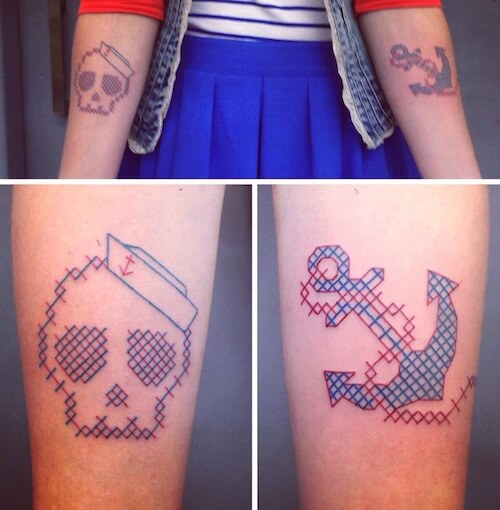 Traditional Cross Stitch Tattoos by Mariette (source: pinterest.com)