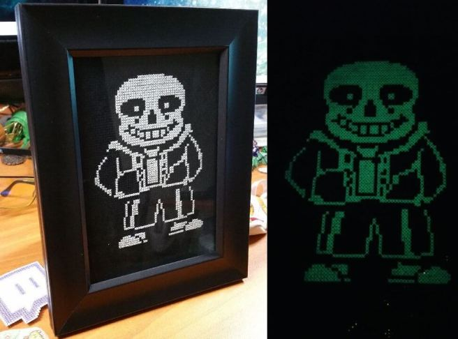 Undertale Glow-in-the-dark Cross Stitch by cthylla (source: reddit.com)