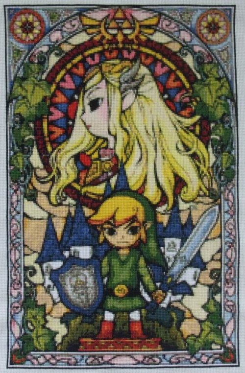 zelda stained glass cross stitch