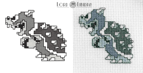 Bowser Concept Art Cross Stitch by Lord Libidan