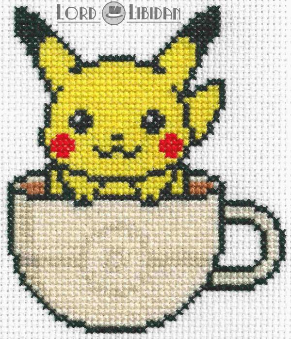Pikachu Tea Cup Cross Stitch
