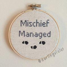 mischief-managed harry potter cross stitch