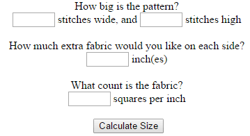 123Stitch Cross Stitch Calculator (source: 123stitch.com)