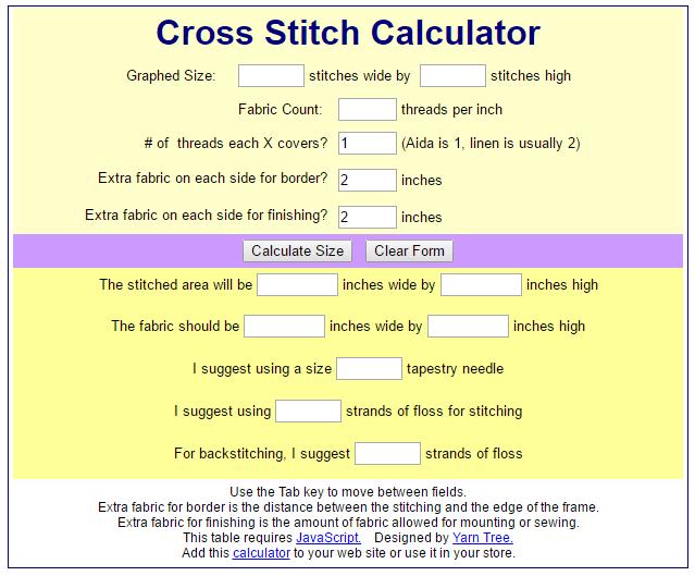 yarn tree cross stitch calculator