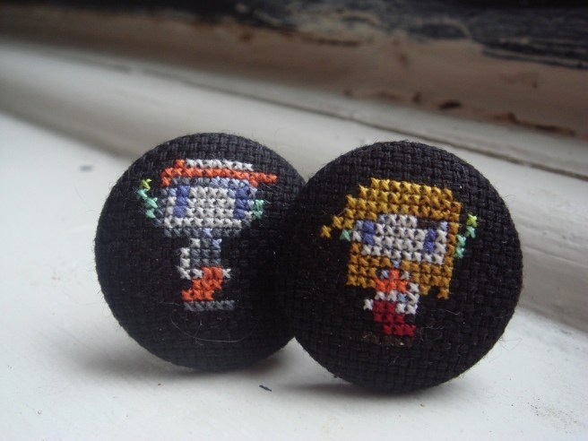 cave story cross stitch cufflinks by benjibot