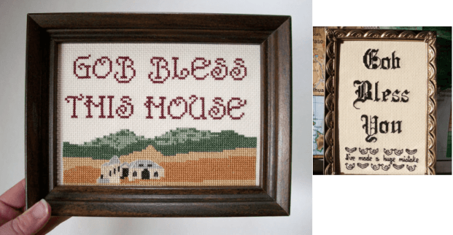gob bless this house misspelled cross stitch