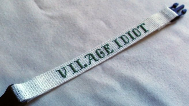vilage idiot misspelled cross stitch