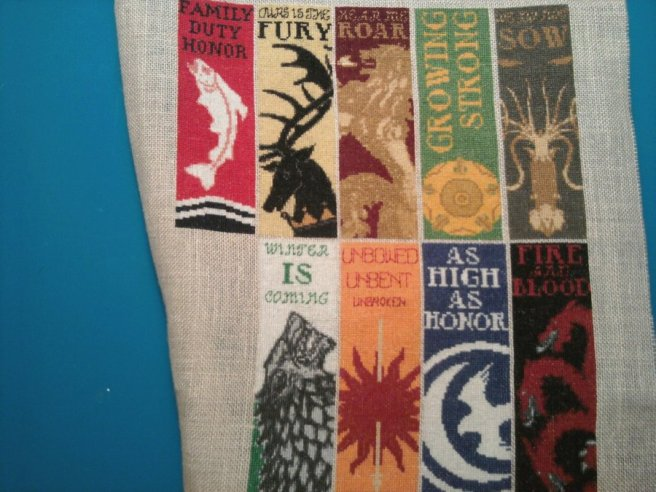 game of thrones house banner cross stitch on linen