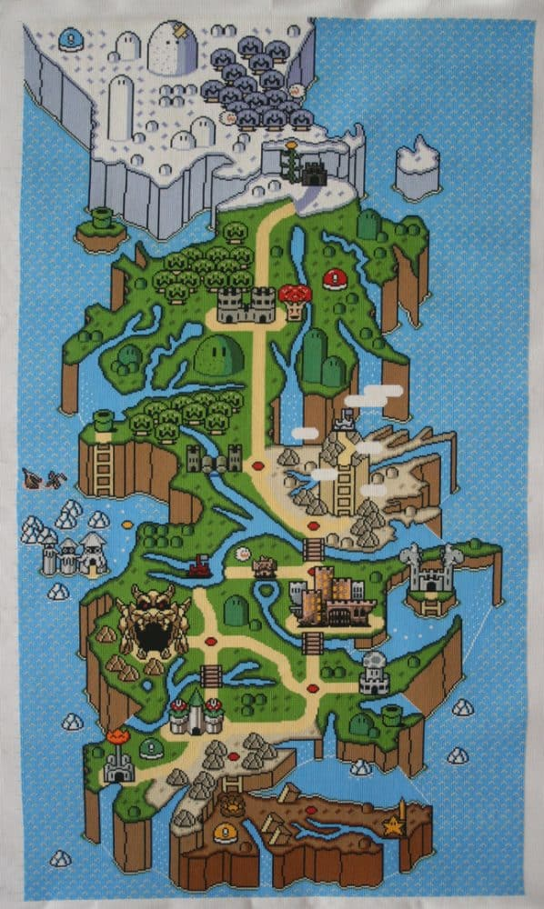 Game of Thrones Mario Style World Map Cross Stitch by MonkeeCatcher, pattern by titan413 (source: spritestitch.com)