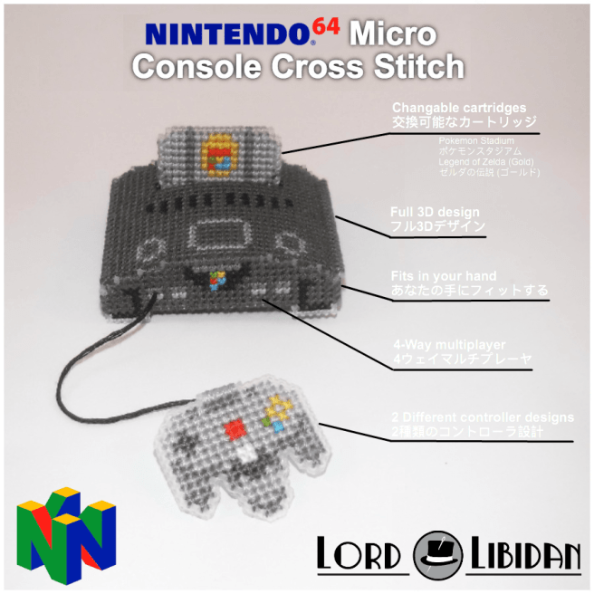 Nintendo64 Micro Console Cross Stitch japanese advert by Lord Libidan