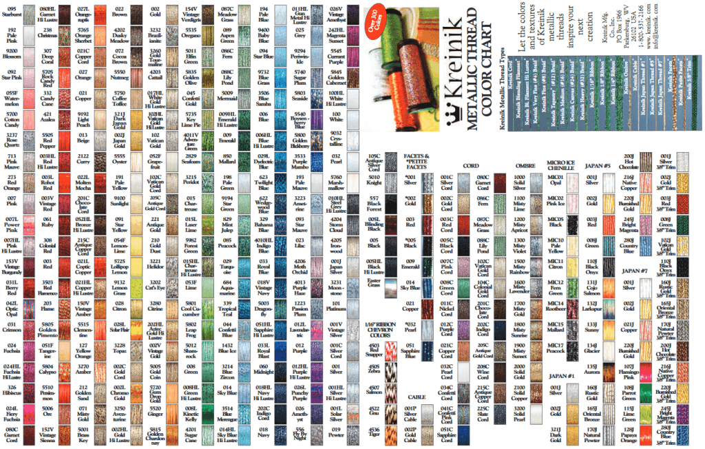 dmc thread color chart: Kreinik metallic thread color chart lord libidan