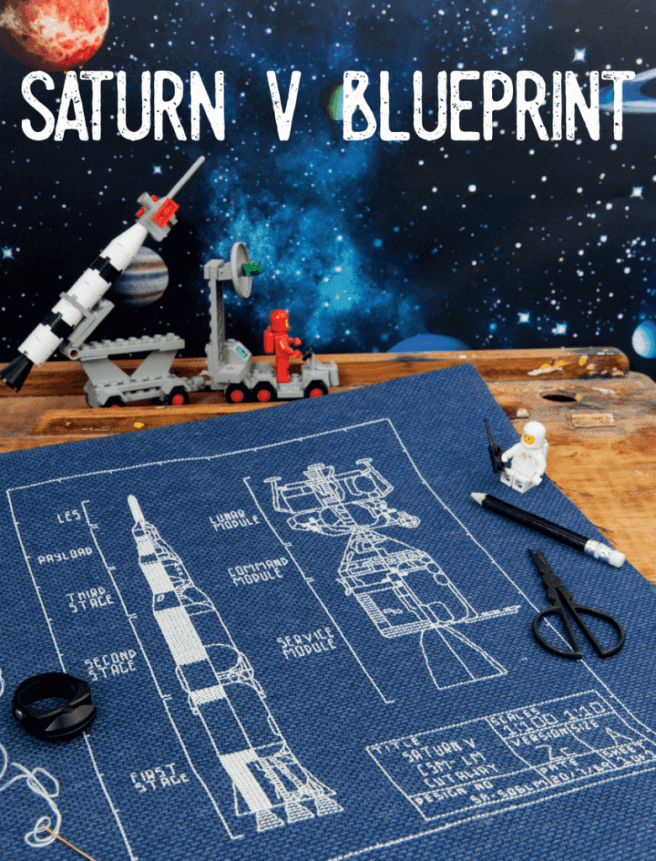 Saturn V blueprint embroidery in the Xstitch Mag