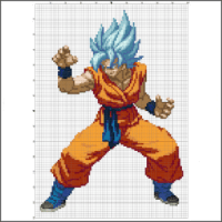Super Saiyan God Goku Dragon Ball Z free cross stitch pattern