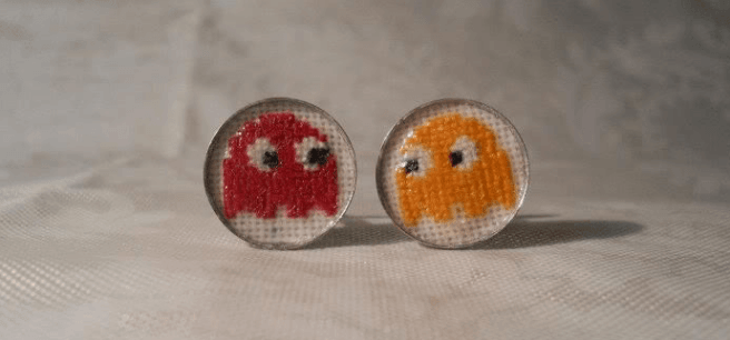 pacman cross stitch cufflinks