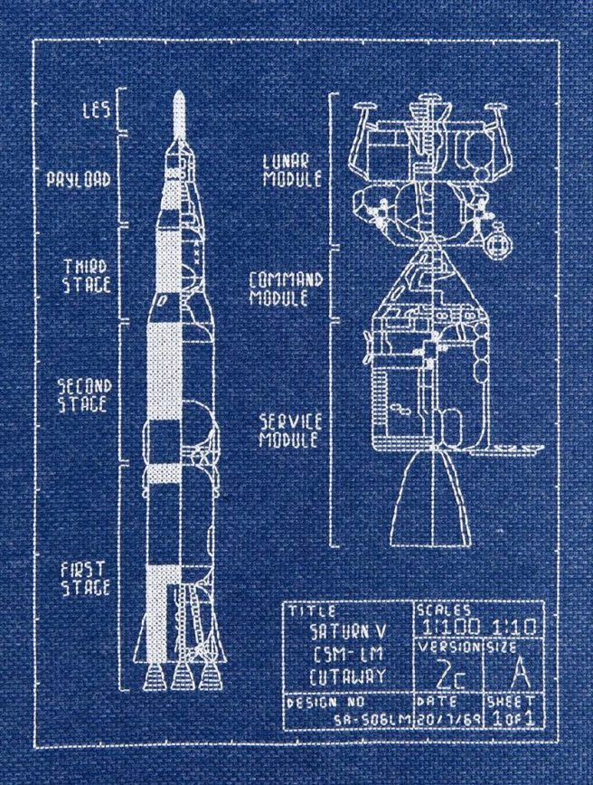 Saturn 5 cross stitch fan made 1