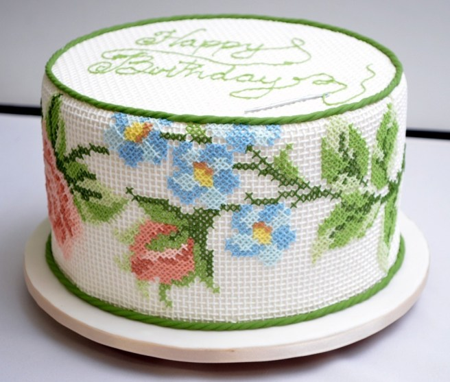 awesome cross stitch cake by ana salinas (source: pinterest)