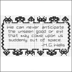 free space invaders hg wells quote cross stitch pattern