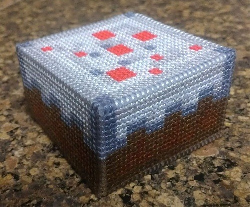 minecraft cake cross stitch by sirinth