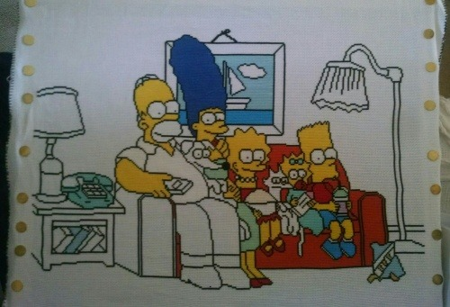 the simpsons cross stitch couch gag