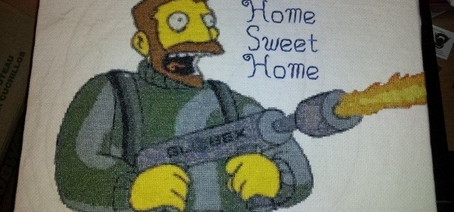 the simpsons cross stitch home sweet home