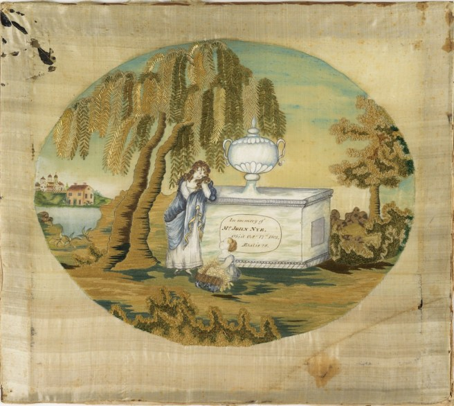 Mourning Sampler (USA), 1803; silk embroidery, paint and ink on silk foundation; H x W: 18 1/2 x 21 in.