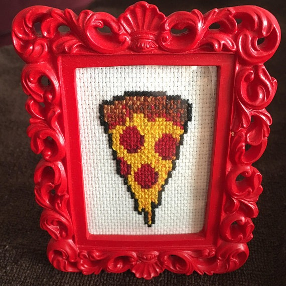 pizza cross stitch by CrossStitchMyHeartCo (source: Etsy)