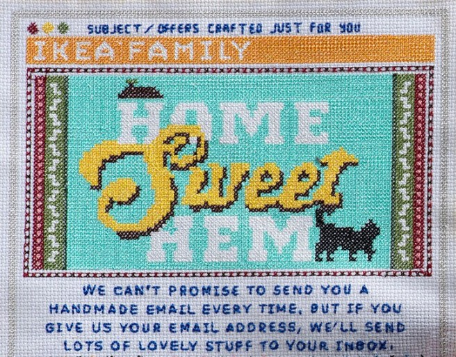 Ikea Lida cross stitched email close up (source: Lida)