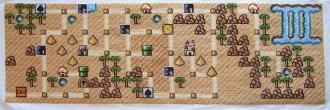 mario cross stitch map by cross stitch ninja