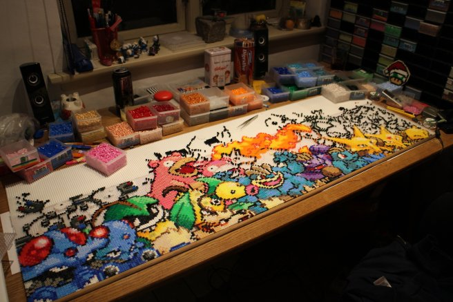 Epic Pokemon perler being constructed by mininete (Nete Hangel)