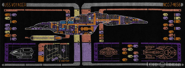Star Trek Voyager LCARS Blueprint cross stitch by Lord Libidan