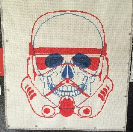 Red Blue Stormtrooper Cross Stitch by Tad Tafelsky (Source: flickr)