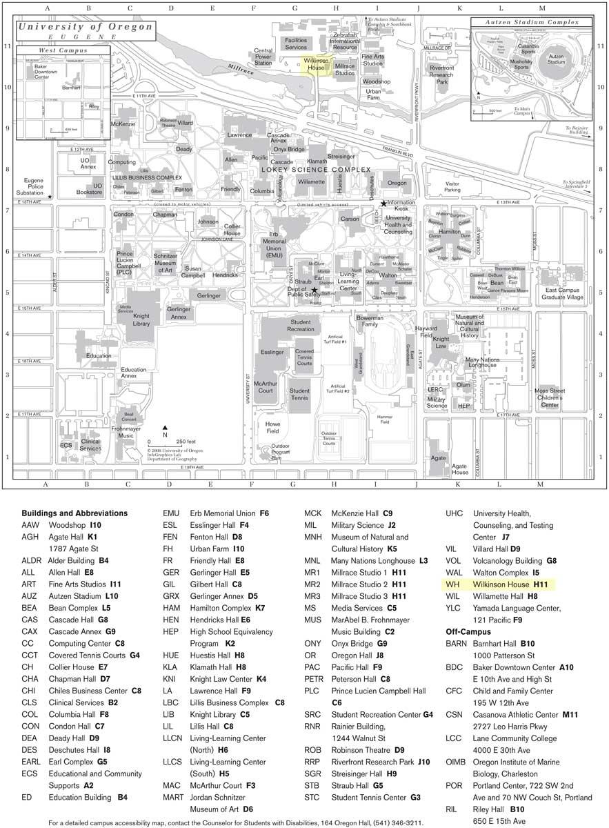 U Of O Maps : Documents:, University, Oregon,, Eugene, Campus, Craig, Marjorie, Walsh, Geneology, Website