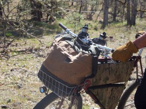 Canvas bag with brown bottom light brown middle and green top rolled and connected with 2 metal clips and black strap dangling, in bike basket on bike